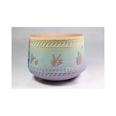 Vintage Handmade Pianted Clay Chinese Plant Bowl Vase Planter Spring Colors