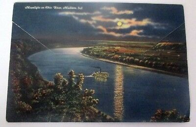 Vintage 1940s linen postcard foldout of Madison, Indiana & Cliffy Falls State Pa
