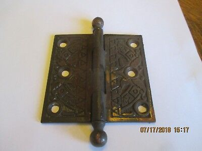 "Eastlake Victorian Brass Antique Hinge 3 1/2"" X 3 1/2"""