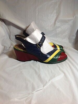 Vtg 1940s Green Red Yellow Stripe Leather Wedge Shoes Sandals Boho Glam Pin Up 9