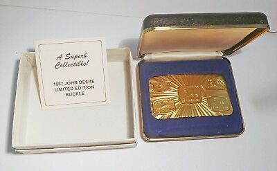 1987 JOHN DEERE 150th Anv Ltd Edn Belt Buckle TRIPLE PLATED 24KT GOLD NIB IOB