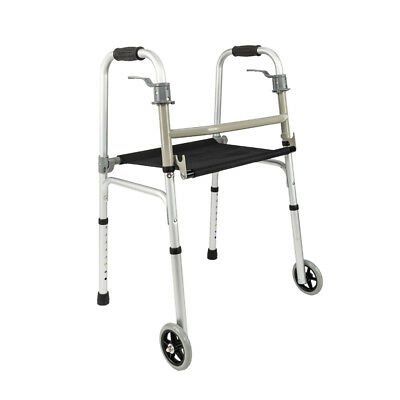 """Front Wheeled Walker Folding Deluxe with Seat and 5"""" Wheels, Adjustable Height"""