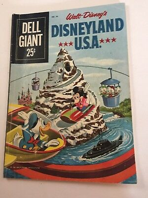 Walt Disney's, DELL GIANT Disneyland USA 1960 Comic Book Mickey Mouse Donald #30