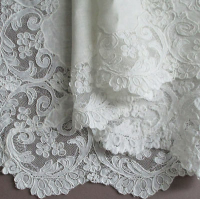 """Vintage White LINEN French ALENCON LACE Tablecloth 36"""" Topper Needlelace FLOWERS"""