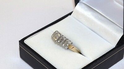 18ct Yellow Gold, .27 ct TW Diamonds, Pave Cathedral Setting Ladies  Ring Size Q