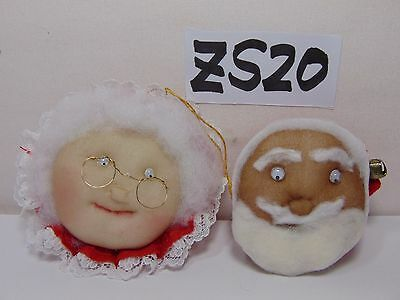 Vintage Christmas Ornament Mr & Mrs. Santa Claus Face Soft Cushion Nos Rare