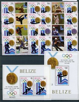 Belize MiNr. 501-08 A + Block 20-21 postfrisch/ MNH Olympiade 1980 (Oly5081