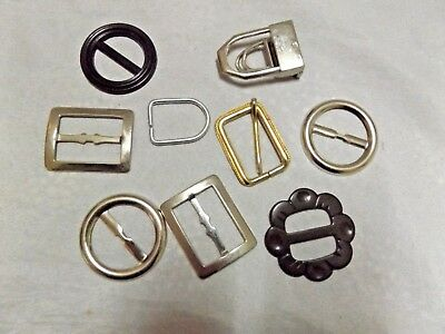 Lot of Retro Vintage Belt Buckles, Some Never Used ~ Brass, Steel Plastic