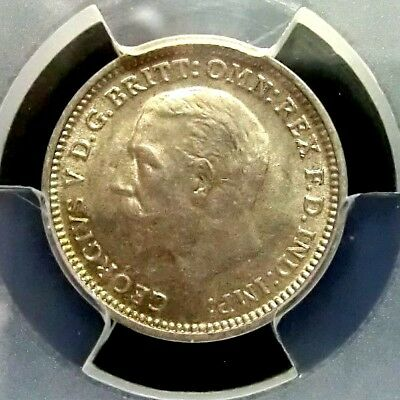 PCGS MS64 Secure-Great Britain 1933 George V Silver 3 Pence Choice BU Scarce
