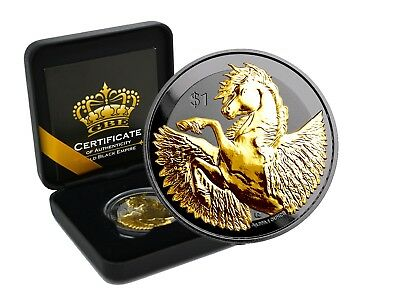 1 OZ Silber Pegasus 2018 British Virgin Islands Gold Black Empire Edition