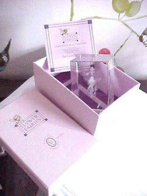The Lavender Fairy Laser Cut Flower Fairy Glass Block Ornament Paperweight Boxed