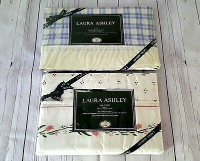 Lot of 2 Laura Ashley Twin Flat Sheets New Vintage Quartet Castleberry