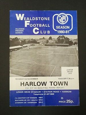 WEALDSTONE 1980/81 v Harlow Town (FA Cup 4 Qualifying Round Replay)