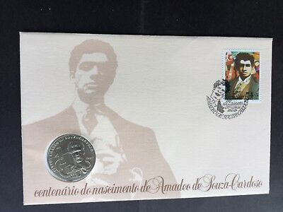 Stamps Portugal  First day cover Amadeo de Souza with 100 Escudos  coin