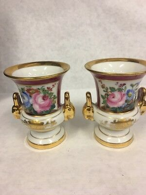 Pair Sevres French Porcelain Small Urns Marron, Gold Trim, Rose Floral Figural