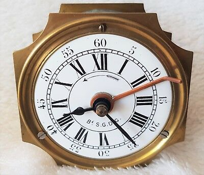 Antique Carriage Alarm Clock French Brass Working Signed Fixed Pendulum