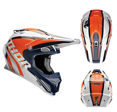 Thor Crosshelm Sector Ricochet Motocross Enduro MX Helm navy orange Gr. M