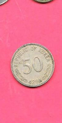 South Korea Korean Km2 1961 Vf-Very Fine-Nice Old Vintage 50 Hwan Coin