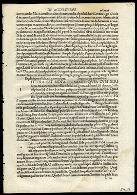 1492 Incunable Leaf The Opera of Priscian 6th Cent Latin Grammar Constantinople