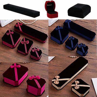 Fashion Velvet Presentation Gift Jewelry Ring Bracelet Necklace Box Engagement