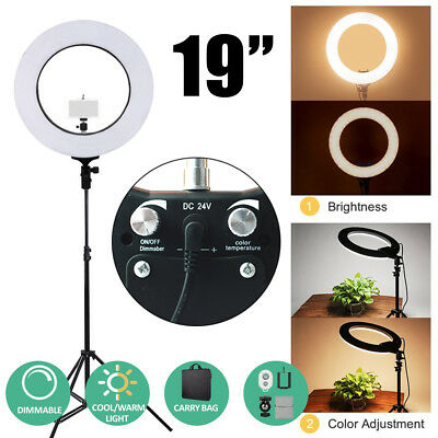 """18"""" 5500K Dimmable Diva LED SMD Ring Light Diffuser Mirror Stand Make Up Studio"""