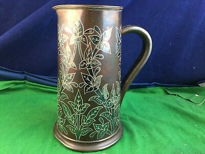 Arts & Craft Antique Hukin & Heath Silver Plated Copper Flowers Jug Pitcher A9