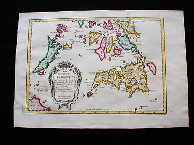 1754 BELLIN -rare map: EAST INDIES, PHILIPPINES, MALAYSIA, LUZON, VISAYAS, DAVAO