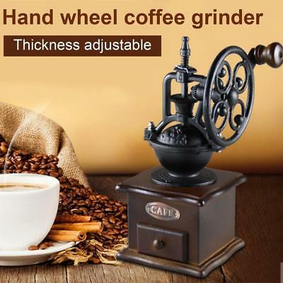 Vintage Steampunk Style Manual Coffee Grinder Mill Cast Iron Retro Wooden