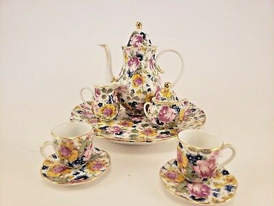 Victoria's Garden Rose TEA SERVICE FOR TWO Teapot Cup Set Yellow Blue Green Pink