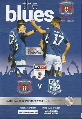 Carlisle United V Tranmere Rovers Sat 15th September 2018 Match Programme