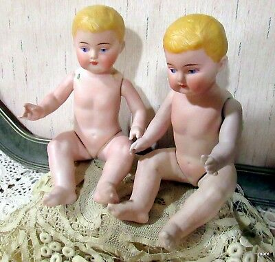Rare Pair Of Antique 9''  12 Part Mold All Bisque Baby's
