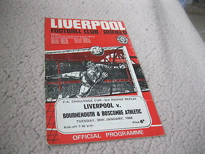 LIVERPOOL v BOURNEMOUTH & BOSCOMBE ATHLETIC 30/1/68, FA CUP 3RD RD REPLAY
