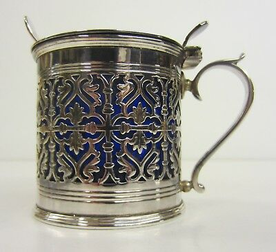 Silver Mustard Pot & Spoon with Cobalt Blue Glass Liner