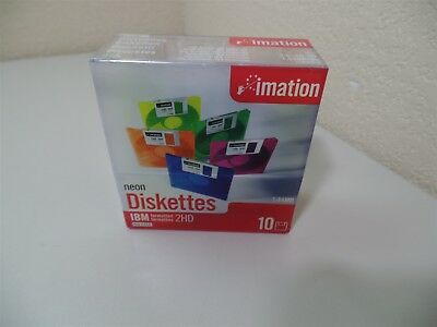 """New Sealed 10 pack Imation Neon Diskettes Formatted 3.5"""" 1.44MB Floppy Disks"""