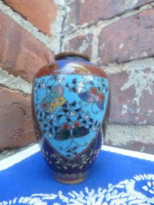 2 old Chinese Cloisonne Enamel Blue Dragon Butterfly Floral Brass Vases China