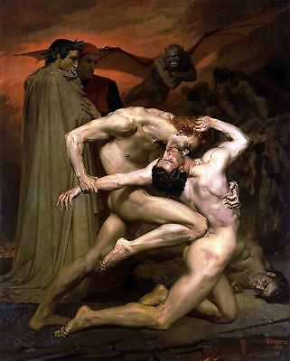 "William Adolphe Bouguereau, Dante and Virgil in Hell, Nude Male,14""x11"" ART"