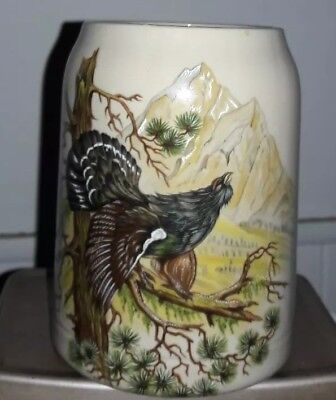 Vintage Hand Painted Ruffed Grouse German 1 L Stonewear Beer Stein
