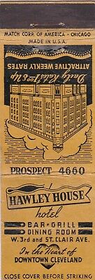 Vintage Hotel Matchbook Cover. Hawley House Hotel. Cleveland, Oh.