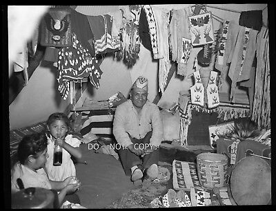 N723 1930S Negative..trading Post,native American Indian Family,beautiful Crafts