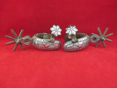 Exceptional Mexican Charro, Vaquero Spurs, Sterling Silver, Double Mounted,