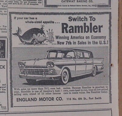 1958 newspaper ad for Rambler - If your car has a whale sized appetite for gas