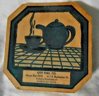 EARLY 20TH Century IOWA CITY HOT PAD: CITY FUEL CO.