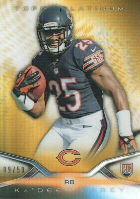 2014 Topps Platinum Football Gold Refractor #142 Ka'Deem Carey 09/50 Bears