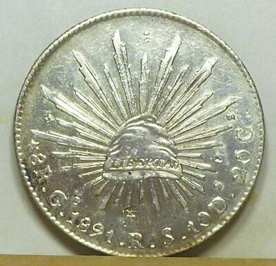 Mexico Guanajuato 8 Reales 1891 Go-RS AU/Uncirculated NO RESERVE