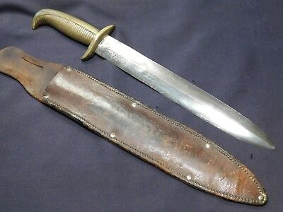 BIG WWII US Theater Fighting Knife Dagger from 1800s Sword Bowie Brass Grip A+