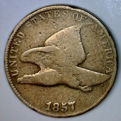 1857 FLYING EAGLE CENT Coin ~ Nice BOLD DATE VG ~ F details Lot #Z9   NO RESERVE