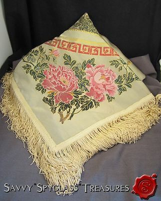 Vintage Chinese Golden Silk Woven Piano Scarf Fringe Pagoda Trees Beijing