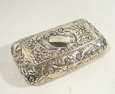 "Antique 1805 STERLING Georgian Sterling Silver Repousse Snuff BOX 3"" x 1 5/8"""