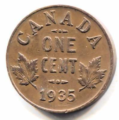 1935 Canadian 1 Cent Maple Leaf Penny Coin - Canada - King George V