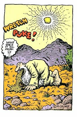 R. Crumb Mr. Natural in the Desert Throwing Up Postcard